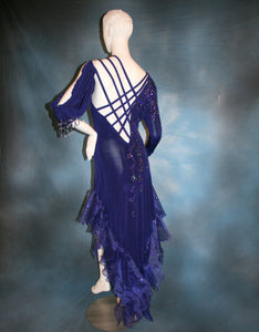 Crystal's Creations back view of  indigo blue Latin dress created of luxurious solid slinky with extensive Swarovski rhinestone work & hand beading