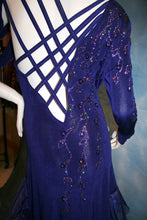 Load image into Gallery viewer, Crystal's Creations close up back view of  indigo blue Latin dress created of luxurious solid slinky with extensive Swarovski rhinestone work & hand beading