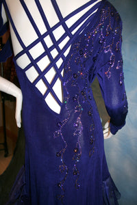 Crystal's Creations close up back view of  indigo blue Latin dress created of luxurious solid slinky with extensive Swarovski rhinestone work & hand beading