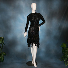 Load image into Gallery viewer, elegant black Latin dress created in glitter slinky