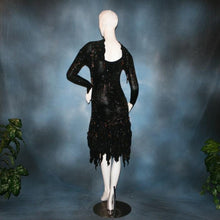 Load image into Gallery viewer, back view of elegant black Latin dress created in glitter slinky