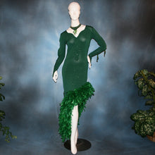 Load image into Gallery viewer, Crystal's Creations green Latin dress created of deep emerald green glitter slinky with chandelle feathers