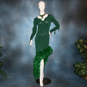 Crystal's Creations green Latin dress created of deep emerald green glitter slinky with chandelle feathers
