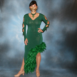 Crystal's Creations green Latin dress with chandelle feathers