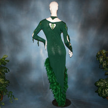 Load image into Gallery viewer, Crystal's Creations back view of green Latin dress created of deep emerald green  glitter slinky with chandelle feathers