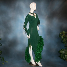 Load image into Gallery viewer, Crystal's Creations side view of green Latin dress created of deep emerald green glitter slinky with chandelle feathers