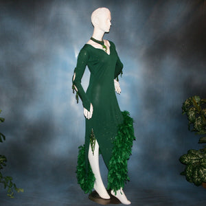 Crystal's Creations side view of green Latin dress created of deep emerald green glitter slinky with chandelle feathers