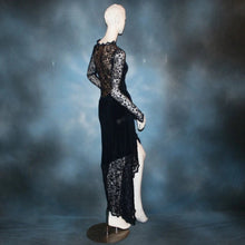 Load image into Gallery viewer, side back view of Navy blue bodysuit & matching Latin/rhythm sarong style skirt of luxurious navy slinky & stretch navy lace with a touch of perwinkle metallic through out, makes a fabulous social Latin dress , beginner show Latin/rhythm dress or tango dress.