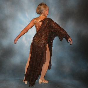 Crystal's Creations back view of Gold tango dress or Latin/rhythm dress created in chocolate brown stretch lace that is lavishly embellished with gold & a touch of emerald green Swarovski rhinestones overlayed & draped over a golden tigress hologram print bodysuit