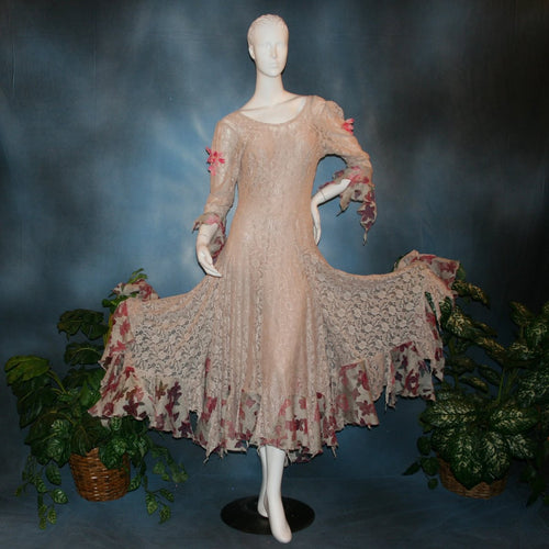 Soft beige social ballroom dress created of beige stretch lace with oodles of beige & pink flower print semi-sheer flounces, a touch of pink silk flowers with beading, & under slip dress. A great beginner ballroom dance show dress!