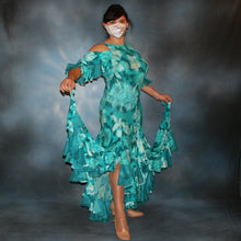 Load image into Gallery viewer, Crystal's Creations teal tropical print social ballroom dress