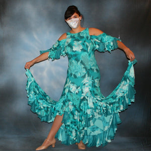 Crystal's Creations teal tropical print social ballroom dress