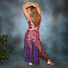 Load image into Gallery viewer, Crystal's Creations back view of a very colorful theatrical ballroom dance dress