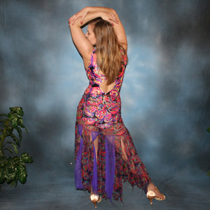 Crystal's Creations back view of a very colorful theatrical ballroom dance dress