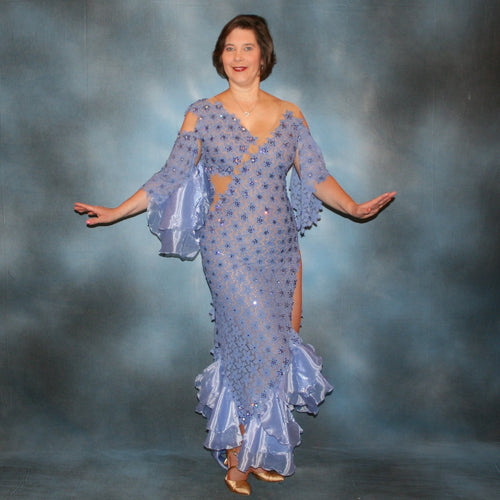 Crystal's Creations lavender Latin dress created  in lavender stretch lace & organza flounces on a nude illusion base