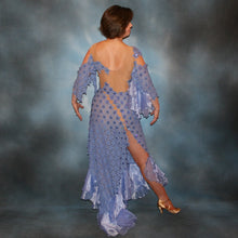 Load image into Gallery viewer, Crystal's Creations back view of lavender Latin dress created in lavender stretch lace & organza flounces on nude illusion base