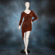 Load image into Gallery viewer, cinnamon brown slinky tunic can also be a simple Latin/rhythm dress for beginner ballroom dancers