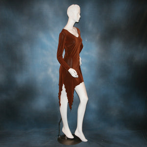 side view of cinnamon brown slinky tunic can also be a simple Latin/rhythm dress for beginner ballroom dancers