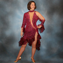 Load image into Gallery viewer, Crystal's Creations burgundy Latin dress created of burgundy glitter slinky