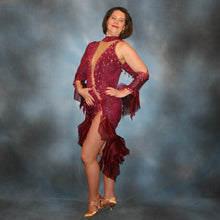 Load image into Gallery viewer, Crystal's Creations Burgundy Latin/rhythm dress created of burgundy glitter slinky with flounces of burgundy organza, embellished with light rose Ab Swarovski rhinestone work along with light rose extensive Swarovski hand beading