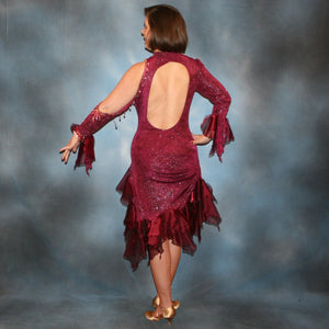Crystal's Creations back view of Burgundy Latin/rhythm dress created of burgundy glitter slinky with flounces of burgundy organza, embellished with light rose Ab Swarovski rhinestone work along with light rose extensive Swarovski hand beading