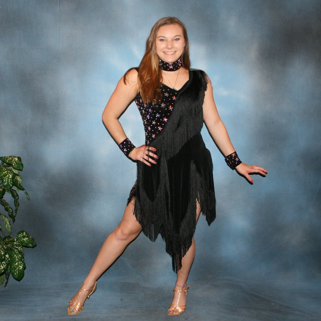 Crystal's Creations back Latin dress created in luxurious solid black slinky with black chainette fringe