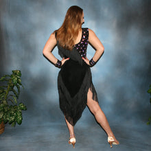 Load image into Gallery viewer, Crystal's Creations back view of black Latin dress created of luxurious solid black slinky with black chainette fringe