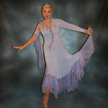 Load image into Gallery viewer, Crystal's Creations periwinkle Blue ballroom dress created in periwinkle blue luxurious glitter slinky on nude illusion base with tricot chiffon flounces in shades of perwinkle & soft pink
