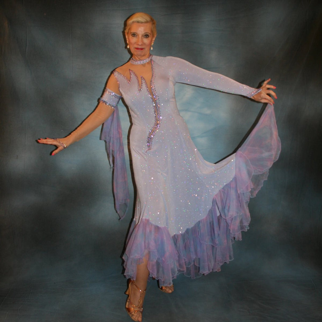 Crystal's Creations periwinkle Blue ballroom dress created in periwinkle blue luxurious glitter slinky on nude illusion base with tricot chiffon flounces in shades of perwinkle & soft pink