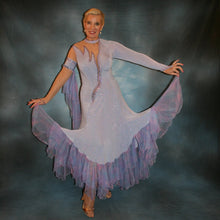Load image into Gallery viewer, Crystal's Creations Blue ballroom dress created in periwinkle blue luxurious glitter slinky on nude illusion base with tricot chiffon flounces in shades of perwinkle & soft pink