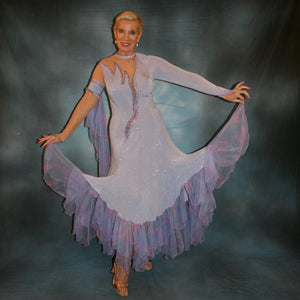 Crystal's Creations Blue ballroom dress created in periwinkle blue luxurious glitter slinky on nude illusion base with tricot chiffon flounces in shades of perwinkle & soft pink