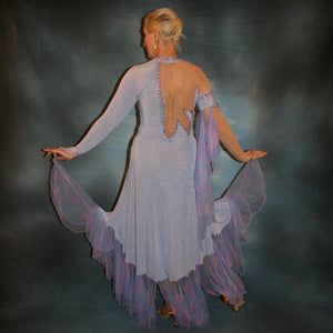 Crystal's Creations back view of Blue ballroom dress created in periwinkle blue luxurious glitter slinky on nude illusion base with tricot chiffon flounces in shades of perwinkle & soft pink