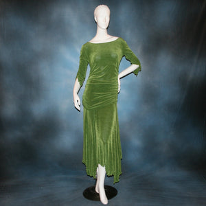 Ruched top with ruched 3/4 sleeves with a slight flaired detail includes trumpet flaired ballroom dance skirt with peaks created of luxurious olive green solid slinky fabric, & can be custom created in many colors. Great for ballroom dance teachers!