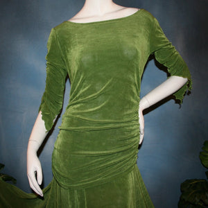 cloe upper view of Ruched top with ruched 3/4 sleeves with a slight flaired detail includes trumpet flaired ballroom dance skirt with peaks created of luxurious olive green solid slinky fabric, & can be custom created in many colors. Great for ballroom dance teachers!
