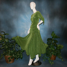 Load image into Gallery viewer, side view of Ruched top with ruched 3/4 sleeves with a slight flaired detail includes trumpet flaired ballroom dance skirt with peaks created of luxurious olive green solid slinky fabric, & can be custom created in many colors. Great for ballroom dance teachers!