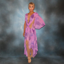 Load image into Gallery viewer, Crystal's Creations Orchid ballroom dress created in yards of a textured chiffon in shades of orchids & purples on a nude illusion base with floats & Swarovski stonework in gorgeous shades of orchids & purples.