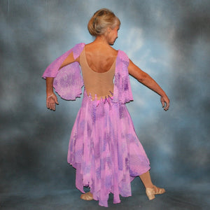 Crystal's Creations back view of Orchid ballroom dress created in yards of a textured chiffon in shades of orchids & purples on a nude illusion base with floats & Swarovski stonework in gorgeous shades of orchids & purples.