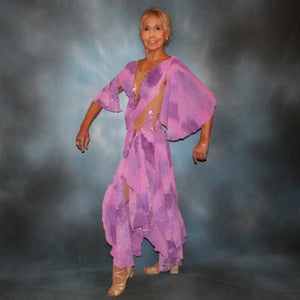 Crystal's Creations side view of Orchid ballroom dress created in yards of a textured chiffon in shades of orchids & purples on a nude illusion base with floats & Swarovski stonework in gorgeous shades of orchids & purples.