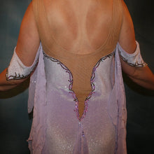 Load image into Gallery viewer, Crystal's Creations close up of back on Orchid ballroom dress created from luxurious glitter stretch velvet on nude illusion base with embroidered sequined chiffon insets & floats, embellished with crystal vitrail light Swarovski rhinestone work