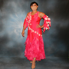 Load image into Gallery viewer, Crystal's Creations Deep pink ballroom dress created of Indian pink lycra base with yards & yards of Indian pink print chiffon large & flowing flounces, embellishing done with silk flowers, accented with Swarovski stonework in Indian pink .