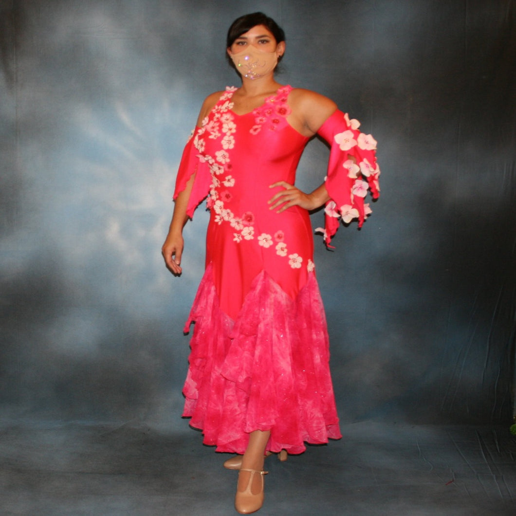 Crystal's Creations Deep pink ballroom dress created of Indian pink lycra base with yards & yards of Indian pink print chiffon large & flowing flounces, embellishing done with silk flowers, accented with Swarovski stonework in Indian pink .