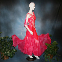 Load image into Gallery viewer, Crystal's Creations side view of Deep pink ballroom dress created of Indian pink lycra base with yards & yards of Indian pink print chiffon large & flowing flounces, embellishing done with silk flowers, accented with Swarovski stonework in Indian pink .