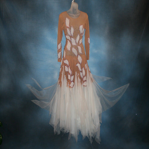 Crystal's Creations white ballroom dress created of white hand cut petals arranged on a nude illusion base with white tricot chiffon skirting, embellished with CAB & fuchsia Swarovski rhinestone work