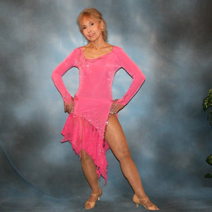 Crystal's Creations Pink converta dance dress of deep bubble gum pink luxurious solid slinky long sleeve body suit embellished with gold aurum Swarovski rhinestone work, with 2 Latin/rhythm skirts!