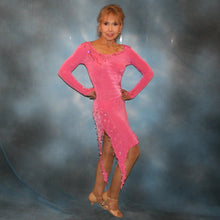 Load image into Gallery viewer, Crystal's Creations right side view of Pink converta dance dress of deep bubble gum pink luxurious solid slinky long sleeve body suit embellished with gold aurum Swarovski rhinestone work, with 2 Latin skirts!