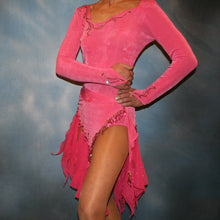Load image into Gallery viewer, Crystal's Creations close up view of Crystal's Creations Pink converta dance dress of deep bubble gum pink luxurious solid slinky long sleeve body suit embellished with gold aurum Swarovski rhinestone work, with 2 Latin/rhythm skirts!