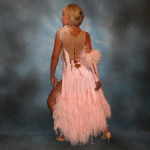 Crystal's Creatioms back view of soft pink ballroom dress with ostrich feathers was created of soft pink lycra overlaid on a nude illusion base, embellished with light peach Swraovski rhinestone work, large teardrop shaped gems along with some drape beading.