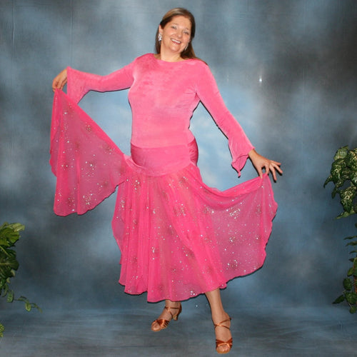 Crystal's Creations Bubble gum pink solid slinky body suit with long flaired sleeves includes 3 ballroom skirts, one for smooth with yards of glitter chiffon, a 2nd, with oodles of print chiffon flounces, which is great for rumba, bolero or tango & a 3rd of solid slinky to wear for Latin/rhythm dancing