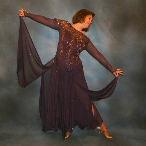 Crystal's Creations Purple ballroom dress created in gorgeous deep plum iridescent sheer mesh with draping floats, embellished with gold aurum & purple velvet Swarovski rhinestone work