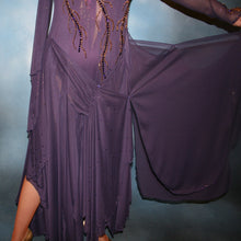 Load image into Gallery viewer, Crystal's Creations close up of details on Purple ballroom dress created in gorgeous deep plum iridescent sheer mesh with draping floats, embellished with gold aurum & purple velvet Swarovski rhinestone work